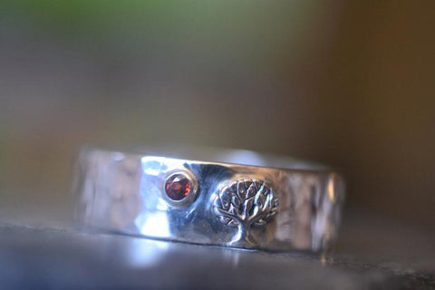 Sterling Silver Tree Wedding Band With Tiny Red Garnet Stone