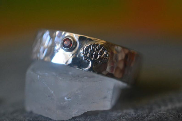 Nature Inspired Male Marriage Band With Natural Red Garnet