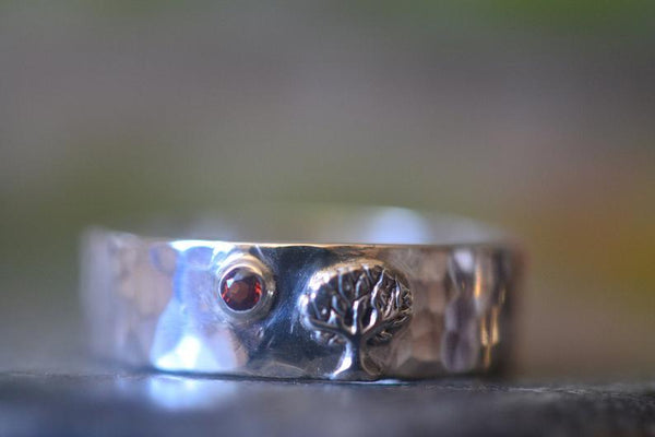 Men's Silver Tree Wedding Band With Inset Red Garnet Stone
