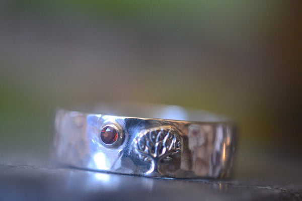 Mans Nature Inspired Tree Wedding Ring With Natural Garnet Gem