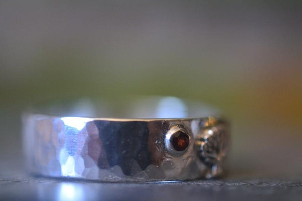 Tiny Red Garnet Wedding Band With Sterling Silver Tree