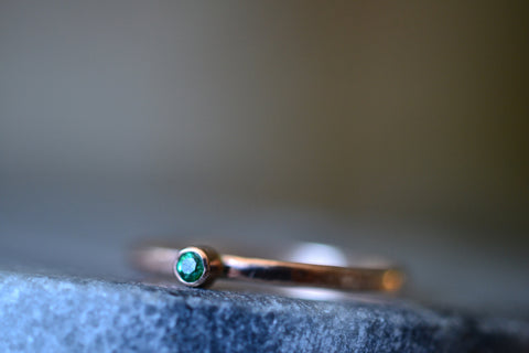 Tiny Green Topaz Ring in 14K Rose Gold