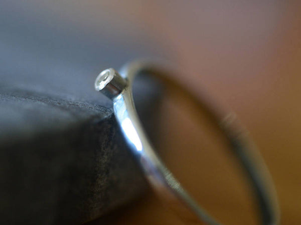 Minimalist Moissanite Stack Ring in Sterling Silver
