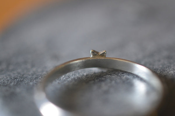 Dainty Sterling Silver Celestial Star Charm Ring