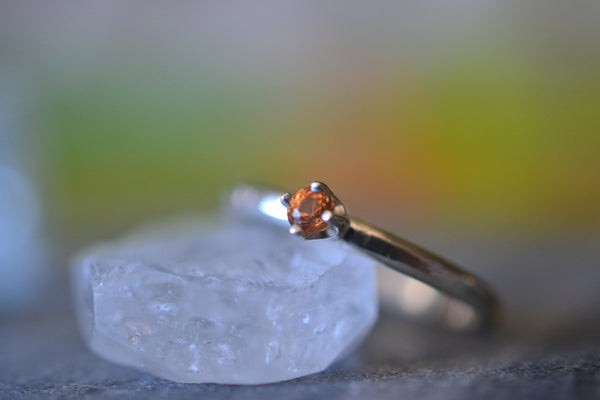Dainty Orange Sapphire Promise Ring in Sterling Silver