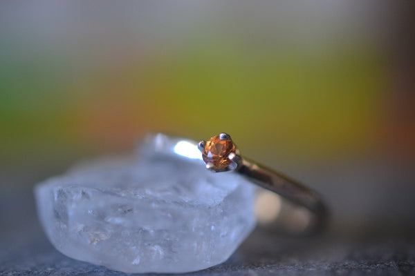 Tiny Natural Orange Sapphire Ring in Silver