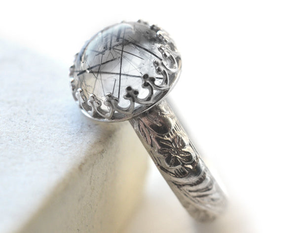 Floral Silver Tourmalinated Quartz Statement Ring