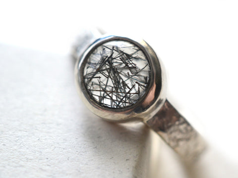 Handmade Sterling Silver Tourmalinated Quartz Ring