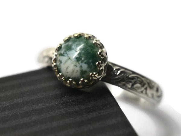 Handmade Floral Silver Tree Agate Engagement Ring