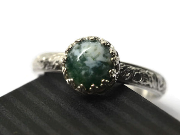 Handmade Floral Silver Moss Agate Engagement Ring