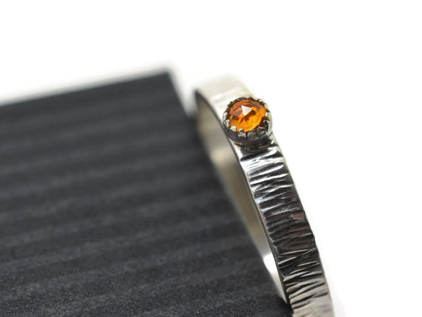 Rustic Silver Tree Bark & 3mm Citrine Engagement Ring