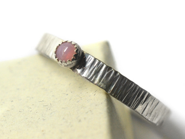 Women's Simple Rustic Silver Pink Opal Promise Ring