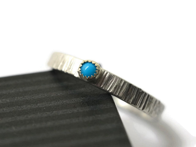 Engravable Sterling Silver Tiny Turquoise Promise Ring