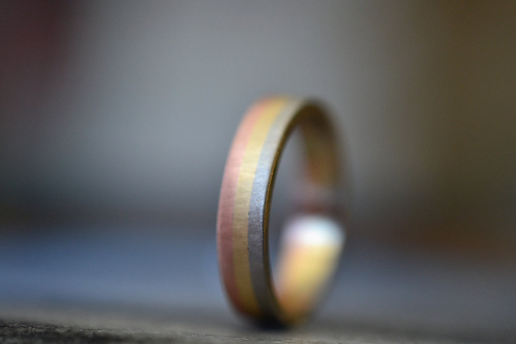 Tri Color 14K Yellow Gold White Gold Pink Gold Wedding Band