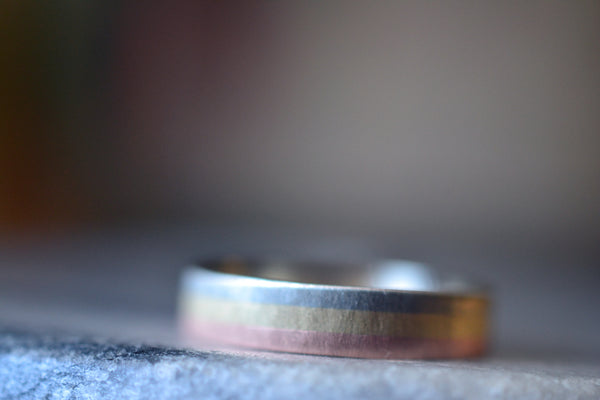 Minimalist Multi Colour Solid Gold Wedding Ring For Men