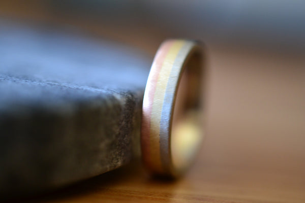 Multi Colour Solid 14K Gold Wedding Band With Matte Finish