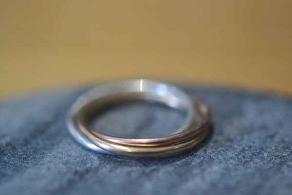 Handmade Triple Band Ring In 14K Yellow Rose & White Gold