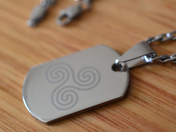 Engraved Triskelion Steel Dog Tag Necklace & Chain