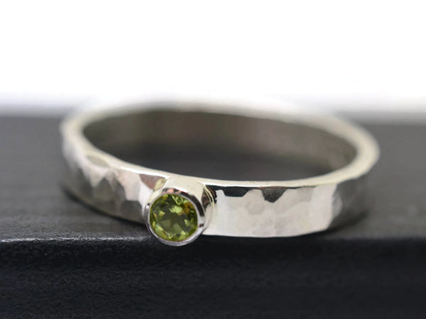 Handforged Sterling Silver & 3mm Peridot Engagement Ring