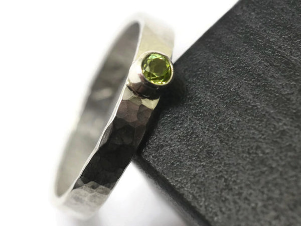 Handmade Sterling Silver & Tiny 3mm Peridot Engagement Ring