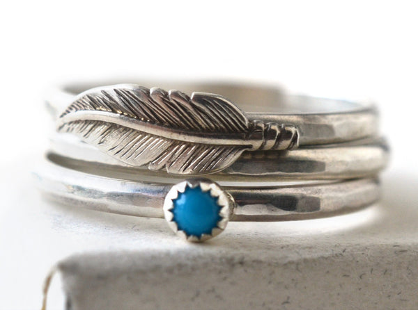 Feather & Turquoise Stacking Ring Set in Sterling Silver