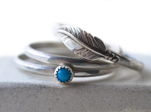 Handmade Silver Feather & 3mm Turquoise Ring Set