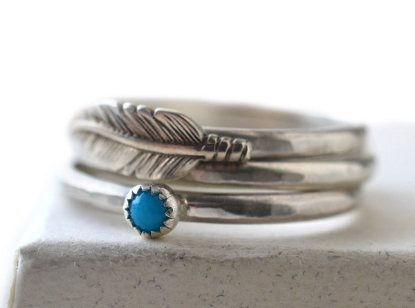 Handmade 3mm Turquoise & Sterling Silver Feather Rings