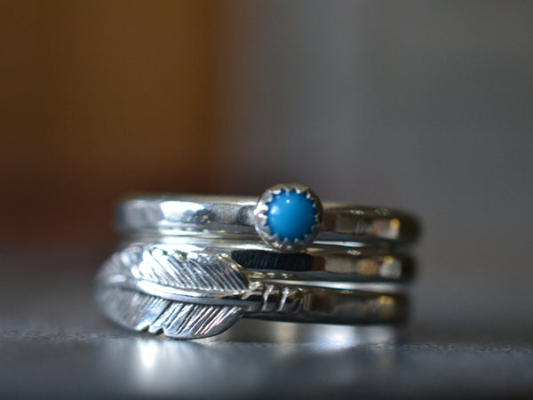 Sterling Silver Feather & Natural Turquoise Stack Ring Set