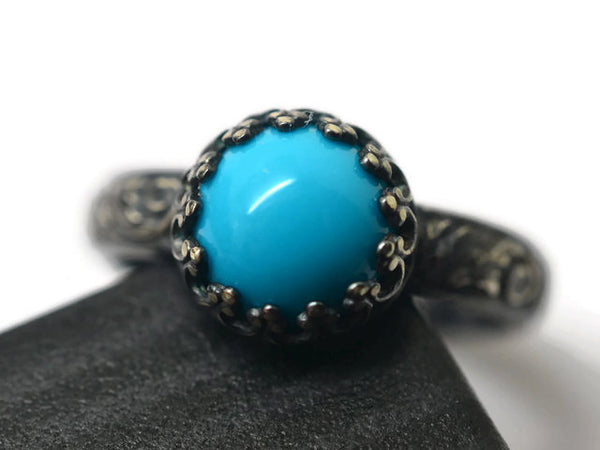Handmade Oxidised Floral Silver Natural Turquoise Ring