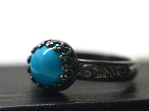 Handmade Oxidised Floral Silver Natural Turquoise Engagement Ring