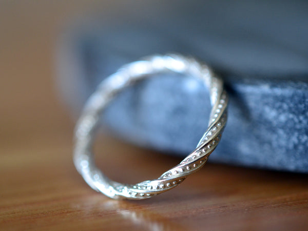 Dot Pattern Stacking Ring in Sterling Silver