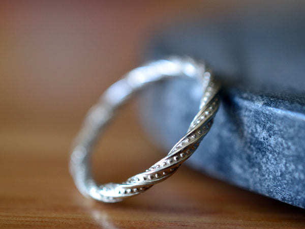 Unique Sterling Silver Stack Ring With Twisted Band
