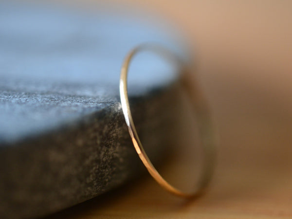 Hammered Micro Thin Recycled 14K Gold Stack Ring