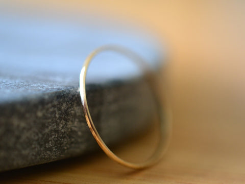 Handmade Ultra Skinny 14K Yellow Gold Stack Ring