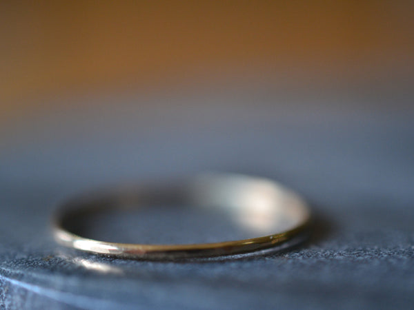 Dainty Little 14K Yellow Gold Ring with Hammered Finish