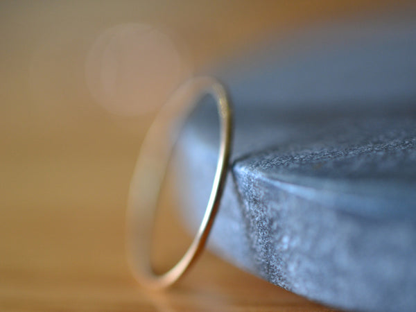 Simple Thin 14K Yellow Gold Stacking Band with Hammered Finish
