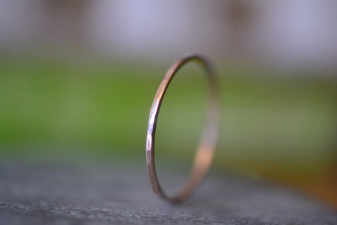 Women's Dainty 1mm Thin 14K Rose Gold Stacking Band