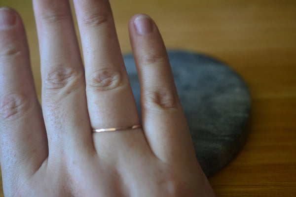 Minimalist Skinny 1mm Thin 14K Rose Gold Ring For Stacking
