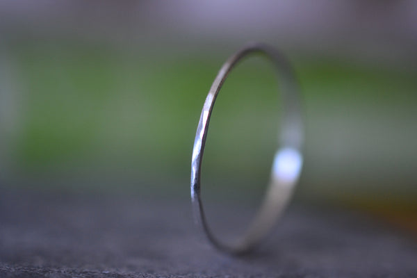 Ultra Thin 14K White Gold Stacking Ring Hammered Finish