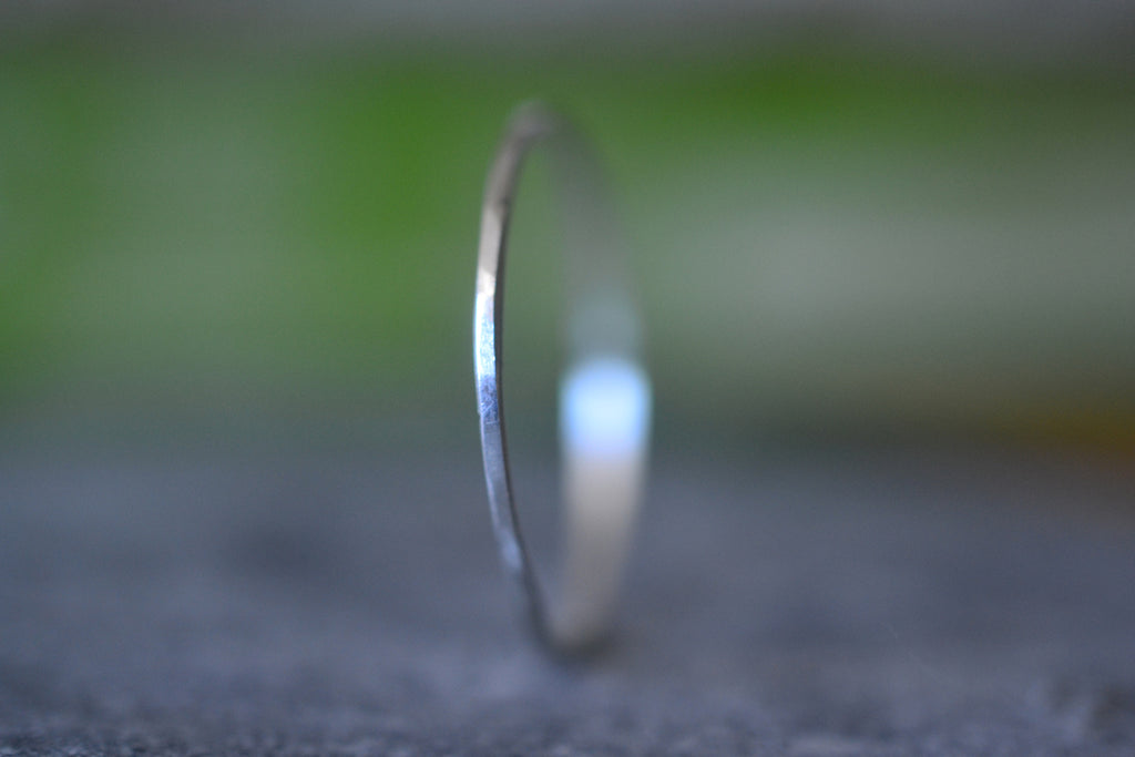 1mm 14K White Gold Band, Micro Thin Gold Thread Ring, Stacking Jewellery