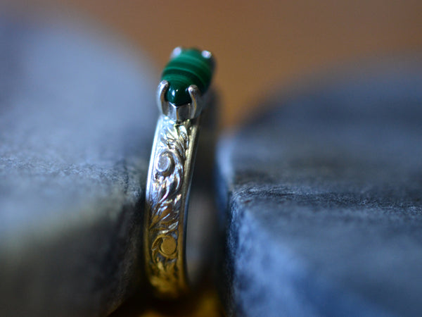 Handmade Renaissance Style Malachite Ring in Sterling Silver