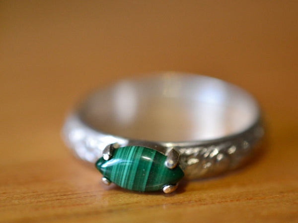 Natural Green Malachite Gemstone Ring in Floral Sterling Silver
