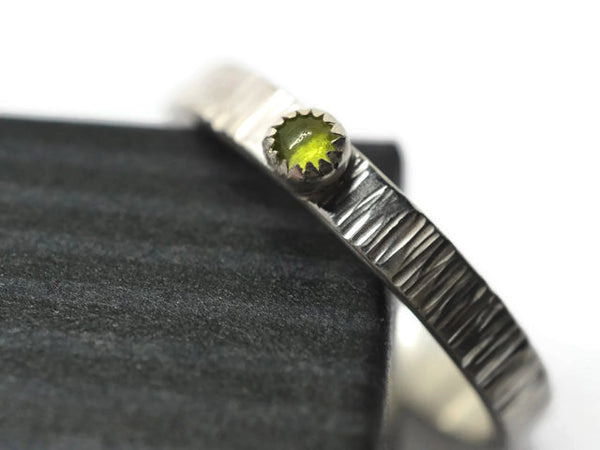 Vesuvianite & Silver Tree Bark Ring