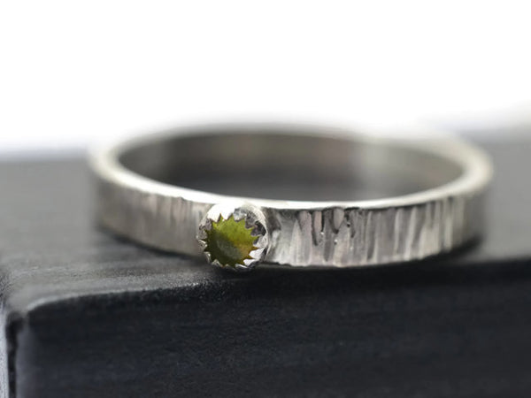 Handmade Silver Tree Bark & Vesuvianite Ring