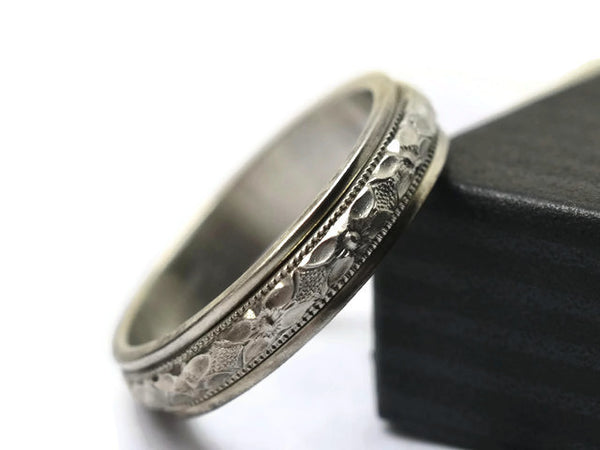 Handmade Floral Silver Victorian Poesy Wedding Band