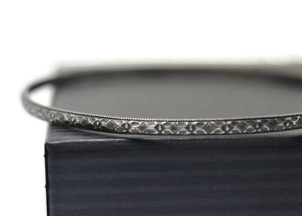 Handmade Oxidized Silver Victorian Floral Pattern Bangle