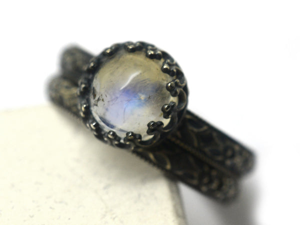 Oxidized Floral Silver & Blue Moonstone Wedding Set