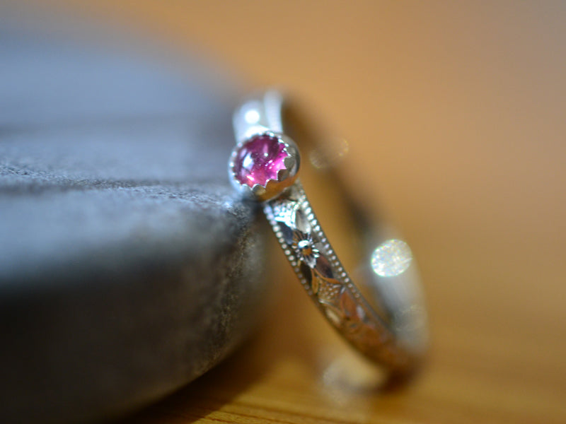 Victorian Style Floral Silver Pink Tourmaline Promise Ring