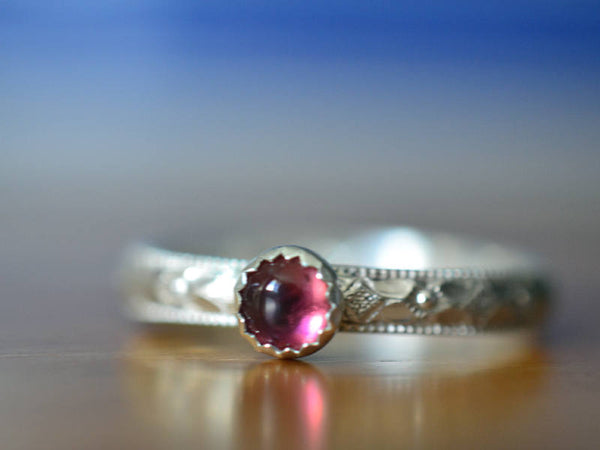 Women's Pink Tourmaline Promise Ring in Floral Sterling Silver