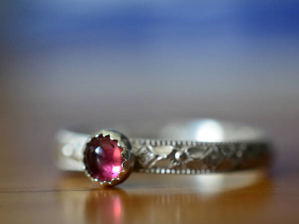 Floral Poesy Style Pink Tourmaline Engagement Ring